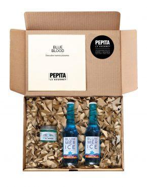 Caja regalo azul de vino y mermelada
